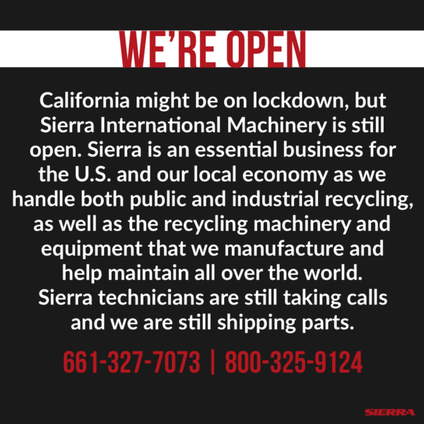Sierra - We're Open - Covid-19 - CA Lockdown